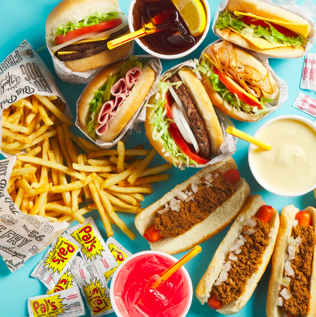 Pal's limited menu includes Frenchie Fries, Big Pal Burgers, milk shakes, Big Tea, and hot dogs. Red Gold provides Pal's with branded ketchup packets.